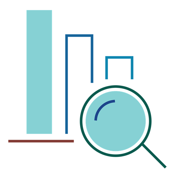 Illustration of a magnifying glass analyzing a bar chart