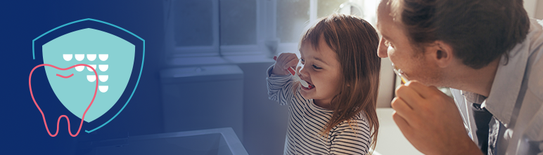 Reversible Decay page header image of father and daughter brushing teeth