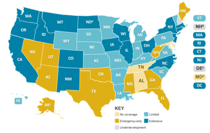 Map of the United States showing Medicaid dental benefits coverage for adults